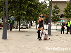 Disgusting Piss Guzzling Slut Paraded Through Budapest : Longtime PD Fan and public whore Lucia Love is greedy to be used on Public Disgrace!!! Fetish Liza steps up to that task and brutally shames and humiliates this natural busty whore all over Budapest. Lucia barks like a dog, gets disgusting food smeared over her face, and then pissed on to wash it all off. This greedy anal slut cant get enough, she is humiliated with a hard pounding double penetration in front of a huge crowd.