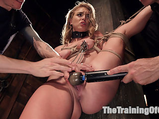 Hot Blonde Pussy Pounded Day One : Dirty little slut Kiera Nicole learns to obey. She sucks and fucks a huge cock, while in hardcore bondage.