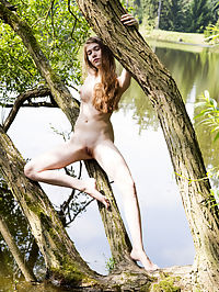 Nature calls : Skinny teen beauty climbs the tree to show her hot body in amazing height as she does some naughty poses.