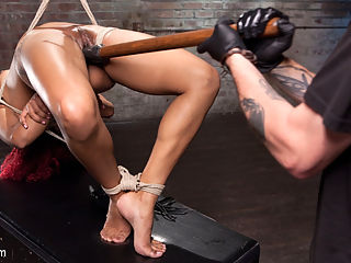 Non Stop Squirting, Fisting and Torment in Brutal Bondage : Daisy starts her day sitting atop a box with her legs tied wide open and her hands behind her back. I creep up behind her and start to terrorize her with flogging and breath control. Her pussy is dripping wet so I begin to rip squirting orgasms from her helpless pussy.Next she is in a brutal predicament position that has her balancing on her head and the tips of her toes. Her ankles are tied to her around her head and through the mouth. She is fucked and she knows it. I start by filling her cunt with the biggest dildo I can get my hands on and the squirting becomes more powerful.I put this slut in a side suspension to give me full access to her hungry pussy. i do everything in my power to get my entire fist inside of her. After stretching her nice and wide I start milking her cunt for every squirting orgasm it has to offer. In the final scene she is on her back, legs spread and this time I wont stop until I have my entire fist inside her cunt, or I empty her of all of her squirting pussy juices.