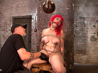 Voluptuous Sex Kitten in Brutal Bondage and Ass Fucked : Proxy has an insatiable appetite for sex, but she will have to suffer through intense punishment to get her hungry pussy played with. We begin with her standing and being held up by the tit bondage around her huge natural tits. She suffers enough for her first orgasm, but there will have to be more to ensure she will have another.Next she is bound to a chair with her legs spread and struggling to breathe with a bowling ball hanging from her neck. Her nipples are covered in clamps and The Pope plays the game of breathe or cum with this little slut.In the final scene we put her big beautiful ass in the air and do what all of you want to see, which is fuck her in her ass. She is used like the slut that she is and is still begging for more.
