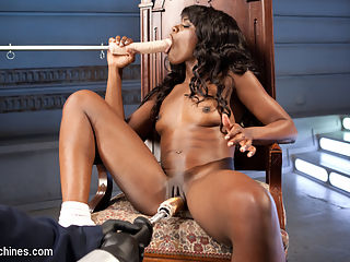 Ebony Barbie Squirts On Massive Cocks And Begs For More!! : The very first second that Ana clicks on the vibrator her body twitches and purrs as she massages her beautiful-pink-swollen clit with delight. When the first machine penetrates her tight pussy, the only thing that can silence her ecstasy is another cock deep throating her mouth again and again. In doggie she squirts all over the machine and only begs for more. And more is what she gets as The Monster pounds her pussy until she is breathless and cum drunk.