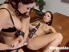 Hot Bitch Boss relieves stress with Submissive Slut Assistant! : Chanel Preston, the CEO of a multi-billion dollar international company, ALWAYS gets her way. After a stressful morning of bossing her minions around, Chanel uses her hot busty assistant, Britney Amber, to blow off some steam with OTK spanking, finger banging, fisting, dildo gag, pussy licking, and a hard pussy and anal strap-on fucking!