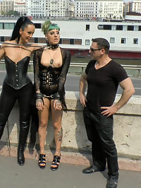 Disobedient Slut Gets Publicly Punished : Lola is back again on Public Disgrace for more humiliation, shaming, and debauchery! Fetish Liza and John Strong expose this gorgeous busty slut to the city of Budapest! Lola is there to service, suck, fuck and become a human ashtray of filth. Her embarrassment to put on a sexy show for the large crowd quickly gets remedied with two huge loads of cum to her face.