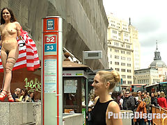 Slutty American Tourist Publicly Disgraces Herself!!! : Juliette March is an embarrassment to the USA. This slutty loser tourist with her pathetic selfie stick is lost in Madrid! Mona Wales doesnt even want to be seen with her. Luckily no one is better at humiliating Juliette March more than herself. She gets fully nude in a crowded downtown area and drapes an American flag around herself. After shaming herself in front of everyone, she is hungry for Euro COCK! At a crowded bar this anal slut gets double filled and fucked hard in rope bondage. Everyone there gets a piece of this american pie!Check out the behind the scenes footage for this shoot at Behind Kink!