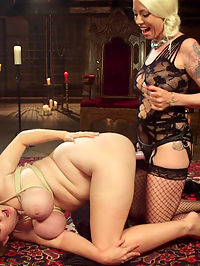 Big Boob Slut Next Door Spanked, Suspended and Anal Strap-on Fucked!! : Submissive slut, Alex Chance, wanders into Goddess Lorelei Lees dungeon to get spanked, foot fucked, anal strap-on fucked and squirt all over!