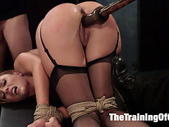 Anal Slut Trained to Obey : Roxanne Rae loves her tits tied so tight that the nipples are popping out for the nipple clamps. The vibe buzzes on her over stimulated clit as the whip comes down, and Roxanne pleads for mercy. But mercy comes in the form of more bondage and a hard ass fucking by the sadistic slave trainer Mr. Pete.