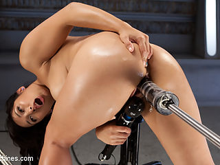 Fast Machine Fucking and Double Penetration Fucking!! : Mia loves cock and we make sure that she gets as much as she can handle. She is allowed to choose her first machine as she sits in the middle of several machine that are armed with massive dildos. She takes one fucking machine after another until we decide that she needs both her ass and pussy stuffed full of cock at the same time. Explosive orgasms are an understatement as we watch Mia get fucked into oblivion.