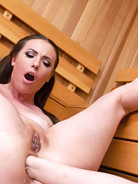 Sweaty Sauna Anal Lesbian Fisting show : Cherry Torn has come to the sauna for one thing and one thing only. she wants to be anally fucked by someone she can hardly see through all the steam. Casey Calvert enters the sauna to Cherry Torn already mid anal masturbation. Casey goes deep into Cherry with the long long slink. She opens her wide with her fist and fucks her hard with a strap on. Casey loves anal too so she makes Cherry open her asshole wide with a speculum. Casey loves getting fisted in the ass so much that she has a squirting orgasm all over Cherry