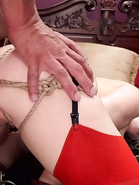 Anal Slut Slaves Learn The Quiet Game : The Master of the House just needs some peace and quiet, a wet sloppy blow job and a clean billiards room. However, minxy little trainee Alina cant stop dragging her chains on the floor and banging the fine china as she cleans, distracting from an otherwise perfect blow job from the busty Christie. Marco leaps to his feet and punish fucks Alina in heavy chain bondage while smothering her in Christies perfect bound tits. Its clear both his slaves need to learn a lesson about silence and team work. The next scene finds both slaves tied tightly, mouths stretched wide with drool gags, with sound activated electric plugs in their tight holes. If one girl makes a sound, the others asshole will receive a painful shock and visa versa. The game in easy until Marco begins to use his slaves pussy and ass in turn, causing groans, which lead to shocks, which lead to screams, and holes clamping pleasurably on his hard cock. Once his slaves learn to get fucked in perfect silence, Marco trains them to respond with perfect begging and verbal on cue. Both hot ladies have their bouncy asses tied tightly and fucked hard while delivering a stream of verbal filth. Once untied they set to work as a team, licking each others pink pussies until dripping wet and working their Masters cock like true whores. A job well done, they are both laid down silently at the end of the bed while Marco opens his paper back up and enjoys some silence.