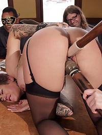 Busty Slave Girl Anally Destroyed at Kinky Brunch : Karmen Karma is a busty slut slave, fit and ready to serve a crowd of sadistic BDSM lifestylers. Wiley MILF bombshell Simone Sonay is on hand to teach her how to keep the cocks hard, the silver trays straight, and the crowd laughing. Karmen had her fresh pussy fucked on the table, her clit tormented by the sybian, and finally her perfect asshole railed by a horny Butler. Both gorgeous slave girls come out on top, but only because they are bouncing on cock in rope bondage, begging for more. Plenty of electrical punishment, predicament, and rough sex.