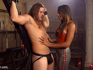 Latex Honey Creampie : Honey Fox is smoking hot and mean in her dripping wet latex. Kip Johnson gets special treatment in her dungeon from her huge rock hard cock. He takes it all the way driving him crazy until he shoots a fat load. Honey loves it and fucks him so hard pumping and pumping away until her creamy white come is creampie dripping from his thirsty asshole!