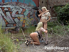 Juliette March Disgraces Two Busty Bondage Slut Blondes : Two gorgeous busty rope bondage blondes get disgraced for your viewing pleasure. Watch these beautiful women get humiliated in public, suck huge cocks outdoors! These sluts then get fucked and disgraced in front of a huge crowd, begging for anal! We drench them in cum!
