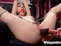 Slutty Shoplifter Pays the Price! : When trendy lingerie store owner,Veruca James catches hot chick Lily LaBeau shoplifting, she doesnt let her off easy. Lily is stripped naked then made to pay her debt with spanking, bondage, finger banging, caning, flogging, dick on a stick, face sitting, pussy licking and anal strap on fucking!