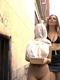 Church Whore Gets Fucked in the Ass and Covered in Trash!!! : Slutty Brenda Boop is a whore for Jesus and Mona Wales is there to humiliate her in front of the whole god fearing town! Its time to spread the good word that Public Disgrace means business! This busty slut gets taken to a crowded tattoo shop and picks to have jesus put on her pussy! Nipple clamps, Rope bondage, and getting trashed dumped on her head isnt even enough for Brenda, her big round juicy ass wants to get fucked! Two huge cocks deliver a brutal anal followed by huge loads of cum on her face!