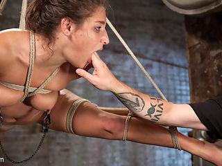 19 Year Old Rope Slut Suffers in Extreme Bondage : Abella is not your typical 19 year old girl. She knows what she wants and she knows how to get it. She wants to be challenged with brutal bondage, tormented, and then have orgasms ripped from her willing pussy. Her flexibility is exploited to put her body in predicaments that most other girls could not handle. She is abused and punished in a way that only a dedicated pain slut could be and loves every second of it.