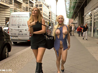 Busty Blonde Piece of Filth Begs to be Treated Like Trash : Mona Wales dislikes nothing more than dirty streets and clean submissives. This morning Mona decides to take matters into her own hands and take her beautiful blonde cum whore out to clean the streets of Berlin. The site of the humiliated Celina Davis crawling along the sidewalk is a welcome distraction to the morning commuters. Men in suits stop and admire Celinas exposed milky ass, pink pussy and spread asshole. As Monas human street sweeper crawls to get all the trash, her heavy tits brush against the filthy sidewalk. Once Mona is satisfied that she has done her public service for the day, she takes Celinas whore holes to be fill at a local bar. Once in the bar Mona opens her slut up to be used. With an ashtray in her mouth Celinas pussy is packed of cock with a double vaginal penetration. After Celinas holes have been completely used up the bar patrons toss their cigaret buts, ash and cum all over her face and perky tits. Thank you Mona for doing your part to make Berlin a cleaner and happier place.