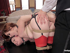 Anal Slave on Top : Veruca James and Amarna Miller dutifully clean the lounge after the Halloween Party, vulnerable naked flesh pinched and spanked by the lecherous Butler, but when one of the slaves finally break a glass nobody knows whose perky tits to punish. There is no clear senior slave, but The House calls for hierarchy and these two hot slave girls are to be bound tightly and made to submit their perfect holes for inspection and fucking. First Amarna is put in charge of Veruca as she begs for her asshole to be filled with cock using the proper house decorum. Stuffed with dick she cries for orgasms while Armarna cleans up the mess with her mouth. Next Veruca is put in charge of Amarnas curious gaze, righting her eyeline with a strict cattle prodding while the Butler fucks her perfect body in a tight suspension. But when it finally comes down to it, the slave that will offer all her holes for all its uses will truly be the senior, and hungry slut Veruca takes the cake and the cock, using Armarnas pussy to catch a hot load of cum.