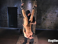 Devastating Anal Fisting in Brutal Bondage : Anal Queen, Roxy Raye loves to push her limits with how much she can shove in her ass. Today she is met with one of her biggest challenges to date The Popes fist. There are only seven other girls that have ever been able to take his massive fist, but this will be the first anal fisting.She is spread eagle against a wall flogged and then a crotch rope with a bowling ball tied to it, is applied to ensure her suffering. She starts off a bit timid, but that all changes as the day goes on.Next she is in a predicament doggy position. All of her weight is balancing on one knee, her other leg is pulled in the air to expose her pussy and ass. she is tormented more and then the anal stretching begins. We grab the biggest toy we have on set and fill her ass with it. Next we do an ankle suspension with this slut inverted and completely helpless. She is toyed with and shocked with a zapper before she is made to cum.In the final scene Roxy is as exposed and helpless as she is going to get. This position allows the ideal angle for The Pope to shove his entire fist inside of her ass. He doesnt stop there and keeps adding more fingers in her pussy to make her as full and tight as possible. Youve heard of the shocker well this is called themini van 2 in the front and 5 in the back. Youre welcome!!
