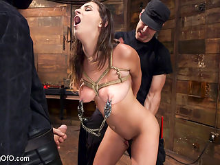 Ashley Adams Slave Desires Training Ashley Day One : Ashley Adams is an all natural big tit sex addict with a submissive streak that takes her down to the very base of the cock. Ashleys gorgeous tits are tied, whipped, clamped, drooled and slobbered on as she gags down thick gimp dick.When it is time to fuck, Ashley sweats and bounces her fat tits while stuffing her slutty pussy with hard man meat. As a reward for her fine behavior, nipple zippers are torn off as her tight pussy spasms in orgasm. Ashley Adams learns the rough side of servitude on Training of O.