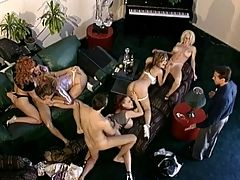 Big Tit Orgy : Mesha Lynn is playing chess with John. Next to them, hanging out on the couch, Kim Chambers and Roxy Rider want Seans boner to suck and fuck. Meanwhile Davia and Ashley Renee are getting tight. They join up with Mesha and form a train Ashley eats Davias cunt as Mesha licks Ashley from behind while John screws Mesha from the rear. The cameraman shoots from the second floor to show whats really going on from a birds-eye view, then he heads down to capture the action up-close.br br Its a full-blown orgy as female screams of delight fill the living room overlooking the LA skyline while pro-cocks fill porn pussies and spurting loads of cum fill open mouths and outstretched tongues in this classic scene. Check out Kim Chambers at four minutes in. These guys and girls were not jerking around when it came to fucking and sucking.