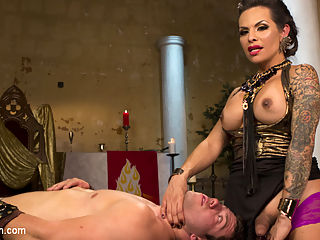Goddess TS Foxxy : Goddess TS Foxxy teases and torments one of her servants with her hungry hard lady cock!!