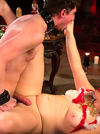 Merry Bitchmas! : Mistress Siouxsie Q James celebrates the holidays training Divine Bitches newest young slave, Grayson. How kind of her to dedicate her time and labor to guide this young piece of boy meat. Grayson will leave a better man because of it but not until Siouxsie gets paid handsomely. Siouxsie looks sweet as pie but she is wickedly sadistic and dishes it out to Grayson with CBT, electricity, spanking and strict bondage. Grayson is pushed to the edge of orgasm with her cock pressing hard on his prostate. She even demands he fuck her to orgasm but he loses his load within 10 pumps in her beautiful pussy. But, dont worry she gets hers and hes left to clean all the sticky mess left behind. Merry Bitchmas!