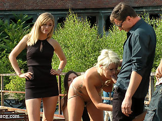 Cheap Whore Sells Her Gaping Hole to the Lowest Bidder : Layla Pryce is one fucked up slut. Unable to find someone to publicly humiliate, punish and fuck her in her personal life, Layla keeps cuming back to Public Disgrace to get her filthy fantasies fulfilled. Today Layla submits her fat ass to Mona Wales and Juliette March to use and abuse. These two tops are not impressed by Laylas slutty clothing choices and stupid seductress walk. To punish her for being such a filthy whore Juliette and Mona strip Layla barefoot and naked in the streets of Berlin. After stuffing Laylas whore mouth full with her own stinky socks, Juliette and Mona laugh at Layla as she continually fails to give her panties to strangers on the street. You can see the embarrassment on Laylas face as men look at her exposed pussy in disgust as she begs them to take her filthy panties. After Laylas epic failure to give away her clothes. Mona and Juliette take Layla to an abandoned warehouse courtyard where they trick her ass out on a used up mattress. Opening her holes to any strange cock with a Euro to spare. Once this cheap whore has serviced all the men that are willing to put their cocks in such a filthy slut. Mona and Juliette bend Layla over and fist her asshole in front of an excited crowd. Another Public Disgrace fantasy successfully fulfilled.