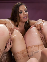 Sloppy Gape Licking : Francesca Le Punishes Miranda Miller and Big Booty Alice Frost. Miranda gets a spanking so hard it leaves her tushy pink and purple. These girls are opened wide and made to lick inside each others sloppy ass holes. Francesca dishes out a good anal fisting to these girls then does anal strap on fucking while feeding ass to the girls