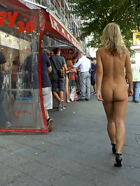 Horny Blonde Anal Slut Disgraced for Berlin Tourists : Busty blonde Luci is put on display in front of eager tourists. A group forms to watch her publicly shamed until the cops show up. Mona brings the dirty slut to a famous sausage stand where shes fully nude in front of a huge crowd. She has to stand and wait while tons of people gawk and stare. The next stop is a crowded cafe where she is tied up, blindfolded, and groped by complete strangers. After she is fed cocks and pounded in her ass and pussy, Mona gives her a final task. With a toilet brush strapped to her face, she has to clean a filthy urinal while getting cum on all over her face.