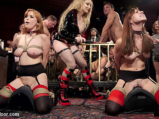 Sexy Anal Slaves Serve Holiday Orgy : At one of our liveliest shoots of the year, 200 gorgeous and creative sadists, masochists, swingers, and lifestyle players join the Upper Floor in a wild party celebrating hot sex and real BDSM play. The orgy is served by two returning anal slaves, Penny Pax and Audrey Holiday, who bring their slutty asses and submissive knowledge to the floor in order to train the new meat girls, Goldie Rush and Aidra Fox, who are locked in a cage and swallowing cock. The senior slaves must struggle out of their bondage while being whipped, shocked, and vibrated on the sybian, then go grab a new slave and teach her the ropes. On this particular night the ropes include brutal fucking, anal service, tight bondage, zippers, floggings, and keeping Mistress Aiden Starrs pussy happy, all while collecting as many hot loads of cum as they can.