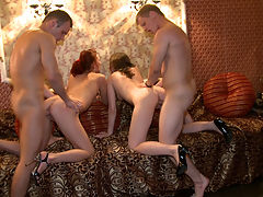 Sex party in a closed bar : Two hot barmen and a couple of cute waitresses decide to celebrate the end of a long night shift that brought them good tips with Champagne and cocktails. Watch them as they get horny and start fucking right in a bar then take it home and follow with a wild foursome fuck with naked chicks taking a 69 position and getting sandwiched between two hard throbbing cocks.