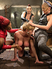 Dyke Bar An All Girl Gangbang! : Taking a break from family holiday obligations, Darling wanders into the local dyke bar where Daisy Ducati and Mona Wales are visiting their hot bartender friend Mistress Kara. It doesnt take long for Darling to succumb to the advances of the three ladies who take her to the basement, sit on her face, finger her cunt, and run a orgasmic lesbian strap-on train on all of her holes! The adventure includes florentine flogging, cropping, spanking, pussy licking, pussy clamps and tons of pussy, anal, and DP strap-on fucking!