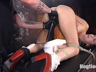 Brunette MILF Tormented in Bondage : We begin with Bianca standing. Her head is wrapped to give her some sensory deprivation before the suffering begins. Clamps are applied to her sensitive nipples and pulled on to keep this slut screaming and then the orgasms begin. We spend the rest of the day tormenting the hell out of this slut all while tied in rope bondage. By the end of the day she has orgasmed so many times that she begs for even that to stop.