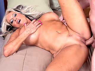 Sally DAngelo with cream sauce : When I fuck, I make sure to squeeze my pussy. That helps to keep it tight. But I workout, too, said Sally DAngelo, a swinger from Florida who gets a lot of cock, here and in her personal life. When she fucked in our studio, her moans of pleasure could be heard throughout the rest of the building.br I was giving blow jobs, doing photo shoots, having a lot of fun, Sally said. Having a lot of orgasms. Nice and hot and intense. Everyone whos fucked me knows I get very loud. And its not fake, either. Thats how I am. I cum a lot when I have sex any time. If the guy is good, or the girl is good, Ill cum hard. I can cum just sitting here talking about it practically. I know what I like sexually, and I know how to get it.br br We believe that. In this scene, Sally aggressively sucks and fucks a guy whos 26 years younger than her, and when he cums, its deep in her pussy.br br Sally is a wife, a mother and a grandmother. She has been married to her current husband for over 16 years, and she says the key to their happy marriage is good communication. We both have a lot of fun. We like the nasty stuff. Anywhere from being nasty to being normal, we just have a lot in common.br br Sallys hubby was sitting about 10 feet away while she was fucking this stud. Thats another key to their relationship Hes happy when shes fucking other men. And other women. Coming soon Sallys three-way with Rita Daniels and a guy. Yes, it was very loud.
