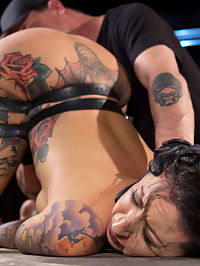 Tattooed Pain Slut Begs to Suffer in Diabolical Devices : This is Lilys first time in the castle and we want to ensure she remembers it forever. She is put in our devices and given the full treatment. Her body is stretched, bent, and almost broken from the hard steel. All of her body is abused as much as she is willing to endure, and her pussy and ass are fucked until she is having squirting orgasms!!