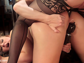 The Panty Whore 19 year old spanked and fucked by hot MILF! : 19 year old Melissa May meets hot pervy MILF Simone Sonay in a crowded bar to sell her dirty panties. Simone entices Melissa to come back to her place and submit to spanking, cropping, bondage, finger fucking, face sitting, the dildo gag, tons of spanking and pussy and anal strap-on fucking!!!