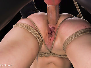 The Anal Submission of Lorelei Lee : Lorelei Lee crawls for cock in this feature update. Beautiful all natural blonde Lorelei Lee is bound at the end of a leash to take cock down her throat and in her ass at the hands of a sadistic slave trainer and his gimp.