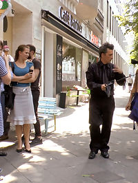 Porno Virginty taken with a Public Double Penetration : Standing on a corner in downtown Berlin, Coco Chanal throws herself at pedestrians walking by. Begging for someone to be the first to buy her cheap fuck holes. Luckily Mona Wales comes along to take this whores porno virginity. Instantly Mona strips Coco naked while this overeager slut begs to have all her holes used and her ass filled with cum. What else do you do with a cum hungry fuck toy but dress them up in the sluttiest latex outfit you can find. After Mona shoves a huge but plug up Cocos ass, she makes Coco stand in the window of the fetish shop as a real life manikin. After demonstrating her submission, Mona stuffs all of Cocos holes full with throbbing cock. Coco takes one dick in her cunt and another in her stretched asshole. Watch these two cocks thrust and pound Coco stupid. Mona finishes Coco off by prying her mouth open as load after hot sticky load is squirted down her throat. Another disgusting public disgrace fantasy fulfilled.