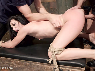 Slave Training Dallas Black : Beautiful brunette spinner Dallas Black is turned into a shaved submissive sex slave by slave trainer John Strong