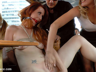 Hot Redhead Gets Fisted and Fucked in the Ass on a Crowded Party Boat : Gorgeous Ginger Isabella Lui is a filthy river rat and Mona Wales is here to make sure that animal gets the fucking and humiliation a dirty pest deserves! Isabella is stripped naked down to a furry butt plug and made to crawl down the river in front of hundreds floating by. This boring slut wasnt able to satisfy on land, so Mona throws her on a crowded drunken party boat! The boat demands entertainment and Mona delivers. Isabella takes a hard corporal in rope bondage, a deep pussy fucking by some huge dicks and a hard pounding in the ass. This ginger lesbian then gets fisted by Mona before taking huge loads in the face. Finally this filthy whore gets a cold ice bath dumped on her sorry humiliated face.