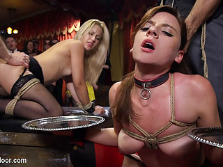 Slutty Slave Anal Orgy : Part Two of The Upper Floors legendary Halloween Costume Ball Anal slut Audrey Holiday teaches young Goldie how to scream in a stress position on the vibrator while Audrey takes a hard fucking in her ass. Goldie obediently licks every bit of cum up while being electro punished and made to cum relentlessly as the guests laugh at her predicament and cheer for Audreys deep anal reaming. In the other room beautiful women enjoy anonymous blow jobs behind masks, rope suspensions, tight rope bondage take downs, and being held down while they cum. Gorgeous slave girls take single tails and suffer beautifully for their masters. Once again all the slaves are brought together in a sweaty fuck competition, Tits are bouncing every where, slave girls cumming again and again as Aiden Starr rides each of their faces in turn. Both our male guests have any one of four perfect slave asses to choose from, and the resulting fuck orgy is unbelievably hot. Covered in cum and sweat, which of these two new slave girls will be collared and kept by The House?