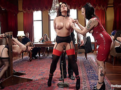 Anal MILF trains Young Maid to worship cock : Kasey Warner has been a sexy and clumsy maid since her start on The Upper Floor. It has been decided she makes a better fuck slave than a maid. Our most elegant nympho MILF Holly Heart joins the House to train this flexible young slave to crawl on the ground, beg, lick, drool, and worship the cock with her tight pussy. Holly is no stranger to desperation and spends the better part of the day begging in humiliation for her orgasms as we put zippers on her huge tits and single tail her tender soles. The young miss is allowed to ride on Hollys face as she takes it all in and prepares for her turn. Her final test sees Kasey crawling across the floor, degrading herself begging to have her mouth fucked and her pussy destroyed. Once she has earned her way onto the cock she gives us what be the longest for enthusiastic reverse cowgirl ride this floor has ever seen. By the end she is screaming and cumming uncontrollably with her pretty eyes rolled back in her head. Looks like our tight bodies MILF slave has earned herself an anal reward, which she takes while the horny brunch guests fuck all around her and cheer her on as she gets pounded into submission.