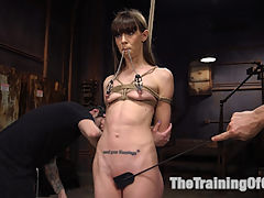 Anal Bondage Slave Training Alexa Nova : Anal slave girl Alexa Nova loves being tied with her ankles behind her head and fucked hard in the ass by Tommy Pistol. Slave trainers teach Alexa the ins and outs of servitude and test her BDSM limits with rough sex, pussy fisting, nipple clamps, tight bondage, gags and discipline.