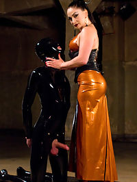 Latex Lea Tortures Rubber Fuck Boy! : The dark, sadistic dungeon side of Divine Bitches is BACK with master fetishist LEA LEXIS! Dripping in latex, she finds Tony, her rubber whore, chained up in the basement...leaking pre-cum out of his desperate cock! WITHOUT PERMISSION! Let the brutal punishment begin.Lea clothespins and shocks the hell out of his swollen balls and, since Tony didnt cry too much, lets him dip his head under her sweaty latex skirt and sniff her sweaty cunt and ass. She then canes, flogs and fucks him as he is suspended in the air, screaming for both mercy and to cum. But pathetic rubber perverts dont get to cum...yet. Lea milks Tonys prostate while riding his face and jerking his sad cock. After smothering his face with her delicious pussy and all its orgasms, Lea may let him cum. The rest of you pervs will just have to watch and find out...