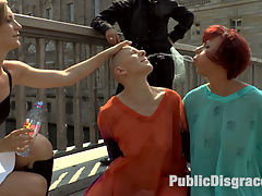Two Berlin Freaks Get an Intense Public Shaming and Fucking : Hot Busty MILF Jolyne Joy and Made Kate are two of Berlins freakiest and they have no idea what theyve signed up for on Public Disgrace. Mona Wales humiliates them like dogs having them drink out of bowls while getting their assess slapped red and then crawl around the dirty streets on their hands and knees. These fully exposed women have to interact with huge crowds and shamed in front of all to see. Only Mad Kate was able to make it to the trash heap where she gets epically fucked and humiliated in front of a huge rowdy crowd. She is tied up in rope bondage and gets spit on and fucked and slapped til she screams so loud! This bald lesbian just wants to see pussy so she can cum, but has to service all the cocks first in every one of her holes. Double Penetration, Double Anal, Double Vaginal, Mad Kate takes it all! That hungry hungry asshole is stuffed full of stranger cock! When she finally cums she screams soo loud and makes the ugliest humiliating cum face ever on Public Disgrace!