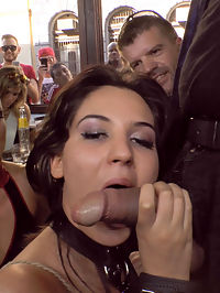 Bella Berettas Teen Pussy gets Publicly Pounded : 19 year old Bella Beretta is ready to push her sexual limits. Her tight ass and perky tits make her an object of desire wherever she goes. The eyes of men and women follow her even when she isnt wearing a slutty dress. Fetish Liza exploits Bellas youth and innocence, parading her through a local Budapest market. Shopkeepers and delivery men grab their phones to capture a snapshot of Bellas exposed cunt. After Bellas marketplace humiliation, Liza takes Bella to a small pub in search of some cock to stuff in Bellas tight pink pussy. Bound in rope Bellas swollen pussy is repeatedly groped by excited bar patrons. Men push up against the open window to watch Bella get passed from one cock to the next, filling her mouth and dripping fuck hole. Finally after being completely used up Bella get her reward of a mouth full of cum. Another Public Disgrace fantasy actualized.