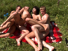Hot sunbathing and fucking : Two hot chicks sunbathing on a green glade had no idea about two horny guys spying on them from the bushes. The young perverts couldn and apost resist the temptation to try and hit on these sexy forest nymphs and ended up fucking them both right on the ground. The sun the fresh air and four young naked bodies in sweaty hardcore action.