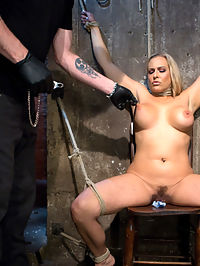 Big Tit Blonde MILF Bound, Tormented, and Made to Cum!! : Angel is a Hogtied dream girl with her big tits, blonde hair, tan skin, and full figure. The one thing that is missing is putting some rope on this slut an treating her like the other whores we see. Her nipples are tormented and stretched, her body abused with canes and floggers, her pussy fucked, her feet subjected to bastinado, and non stop orgasms ripped from her whore pussy.