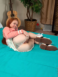 Nubiles.net Dolly Little - Playful red head shoves her glass dildo deep inside her wet twat : Playful red head shoves her glass dildo deep inside her wet twat